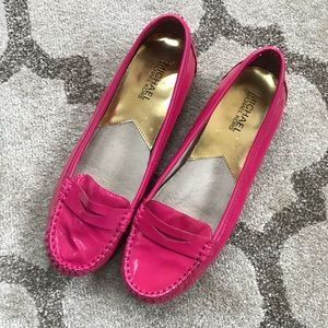 Michael Kors hot pink leather loafers
